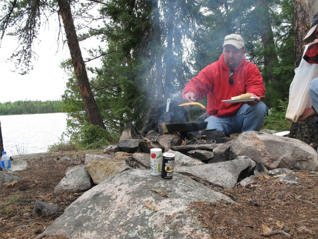 man enjoying himself on a boundary waters outfitter trip